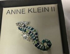 Collectible Anne Klein Ii Sea Horse brooch / pendant with signed box, nice T323