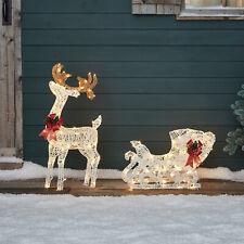 Regular Reindeer &Sleigh Outdoor LED Christmas Decoration Cotton Spun 100cm IP44