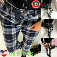 Womens High Waist Lace-up Plaid Check Casual Trousers Slim Fit Skinny Long Pants