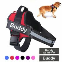 Personalized Dog Harness No Pull Reflective Adjustable Custom ID Patch Pet Vest