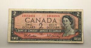 Canada 1954 2 Dollars $2 Radar Banknote Bill 2 Digits