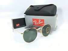 Ray Ban Round Metal RB3447 001 50 Gold Frame Green Classic G-15 Lens 50MM