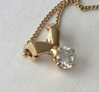 """Vintage Modern Clear Stone Gold Tone Pendant Chain Choker Necklace 16"""""""