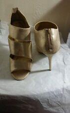 "FIONI Gold  Assymetrical IGNITE FLAMME Peep Toe  Ankle Zipper  4"" Heel  SZ 11"