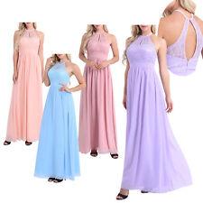 Ladies High Neckline Halter Lace Long Bridesmaid Dresses Wedding Gowns Evening