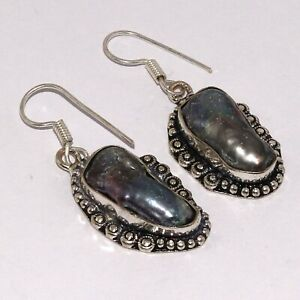 "BIWA PEARL 925 SILVER PLATED EARRINGS 1.6"", O8486"