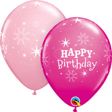 25 Pink Birthday Sparkle Latex Balloons Party Helium / Air Qualatex 38856