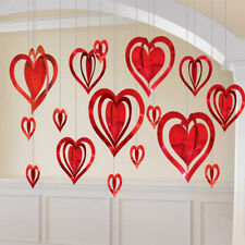 Valentine's Day 3D Red, Pink & Purple Love Heart Foil Hanging Decorations 16pk