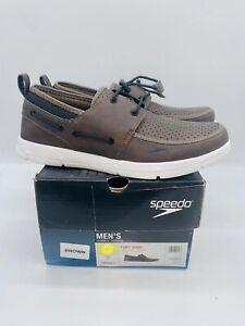 Speedo Men Port Lightweight Breathable Lightweight Water Boat Shoes Brown White