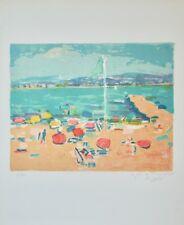 Robert SAVARY - Estampe originale - Lithographie - La plage à St Aygulf