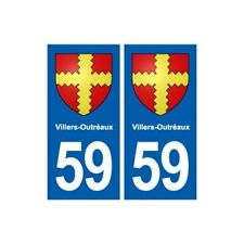 59 Villers-Outréaux blason autocollant plaque stickers ville -  Angles : droits