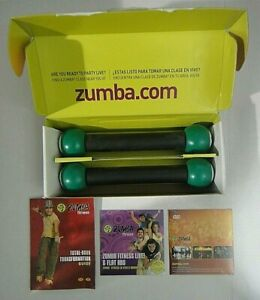 Zumba Join The Party =2 DVD Workouts+ Pair Weight Sticks (new in box)