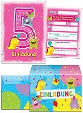 Einladungskarten mit Umschlägen zum 5. Geburtstag Mädchen pink rosa
