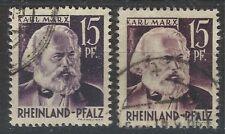 Rheinland Pfalz 1947, Renania-Palatinado, Mi № 5 Type I & II  used