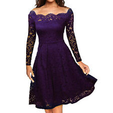 Women Floral Lace Formal Cocktail Evening Party Long Sleeve Prom Gown Mini Dress