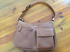 LADIES GENUINE LEATHER HANDBAG - BY VISCONTI - TAN COW HIDE LEATHER - CLASSIC