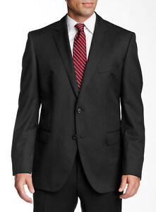 HUGO BOSS Men's Virgin Wool Suit Jacket Sport Coat Blazer in Black Size 46L