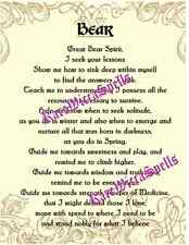 Bear Invocation Prayer Poster 1pg Parchment Wicca Book of Shadows Spell Ritual