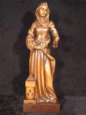 Barbara mit Turm, handgeschnitzt, Linde, ca. 60 cm, braun, Schutzpatron Bergbau