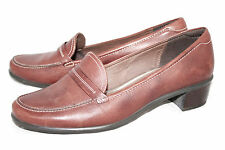 ECCO Wo's 9-9.5 Eu 40 Brown Tumbled Leather Low Heel Casual Loafer Slip On