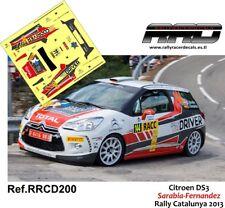 DECAL/CALCA 1/43; Citroen DS3; Sarabia-Fernandez; Rally Catalunya 2013