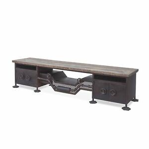 """74"""" L Sideboard Cabinet Reclaimed Teak Wood Recycled Industrial Iron Steampunk"""