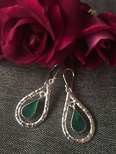 925 STERLING SILVER EARRINGS - DETAIL HOOP DROP - GREEN ON ABALONE SHELL INNER