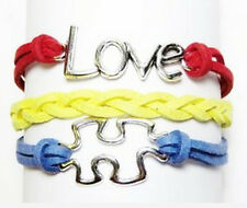 Autism Awareness Bracelet Love Puzzle Piece 7-9 inch adjustable Leather Suede