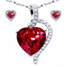 "Created Ruby Pendant Necklace Earring Set .925 Sterling Silver with 18"" Chain"