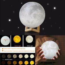 3D Printing LED Luna Night Light Moon Lamp Touch Control USB Charging Gift UK