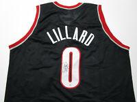 DAMIAN LILLARD / AUTOGRAPHED TRAIL BLAZERS BLACK CUSTOM BASKETBALL JERSEY / COA