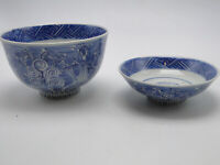 2pc Asian Oriental Porcelain Blue on White Footed Bowl & Footed Dish