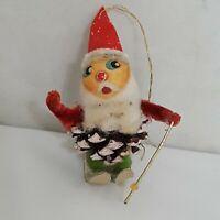 Vintage Cardboard Christmas Tree Ornaments Santa Skiing Set of 3 Pine Cone Paper