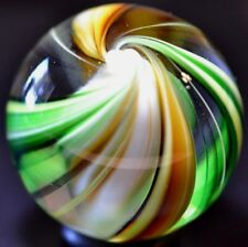 "SWEET HANDMADE GLASS MARBLE/1.610""-AUTUMN BEACHBALL-YELLOW,LIME,MUSTARD,OLIVE++"