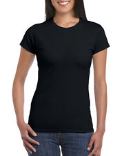 LADIES 100% RINGSPUN COTTON* T-SHIRT GILDAN Soft Feel PLAIN Women's T SHIRT
