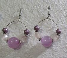 Purple Bubble Bead Custom Made Hoop Dangle Wire Earrings