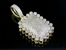 10K Yellow Gold Genuine Diamond Dome Cluster Pillow Pendant Charm 9/10 Ct 1.5""