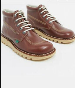 BNWT Kickers Hi Kick Boots Shoes Light Brown Leather Size 9/43