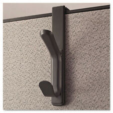 Universal Recycled Cubicle Double Coat Hook - Plastic, Charcoal, UNV08607