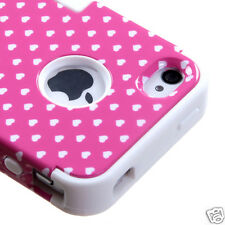 APPLE iPHONE 4 4S MULTI-LAYER HYBRID CASE COVER SKIN ACCESSORY DOTS PINK/WHITE