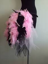 NEW Baby Pink Black Burlesque Bustle Belt Feathers Sexy Cosplay Flamingo Small