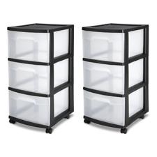 2 PK 3 Drawer Clear Plastic Portable Home Office Organizer Storage Cart Box Bin