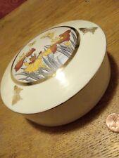 Vintage Art of Chokin Trinket Box 24 KT Gold Edged-Butterfly & Flower Design.VGC