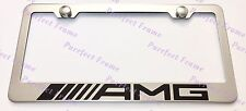 Mercedes AMG New Style Stainless Steel License Plate Frame Rust Free W/ Bolt Cap