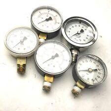 """Lot of 5 Miscellaneous Pressure Gauges, 1/4"""" NPT, Range: 0-60 PSI"""