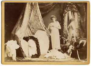 Portrait of half-naked woman Mirror Original albumen photo X. Sol 1890c L628