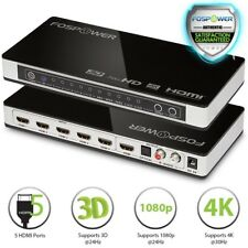 FosPower 5X1 Port HDMI 4K UHD 3D Selector Switch Switcher Hub Box Optical RCA