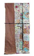 Indian Patchwork Kantha Quilt Queen Cotton Bedspread Handmade Bedding Boho Throw