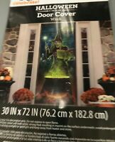 Halloween Door Cover Witch or Wall Decoration 30x72 Scene Setter Photo Prop NEW