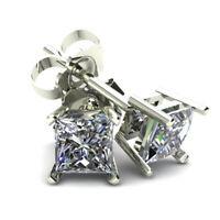 .75Ct Square Princess Cut Natural Diamond Stud Earrings In 14K Gold